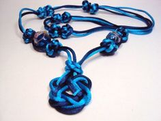 Beautiful Blue Chinese Knot Necklace Prosperity Feng by GioArte, $24.99