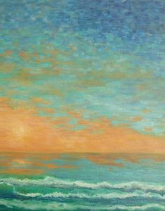 Sunset Sea Painting, with all the colors of the room