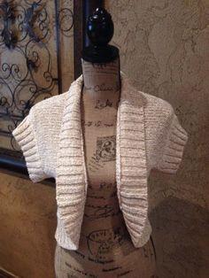 Kasper-Tan-Cream-Speckled-Knit-Shrug-Sweater-Size-Sz-Small-S-PS-Ladies-Petites