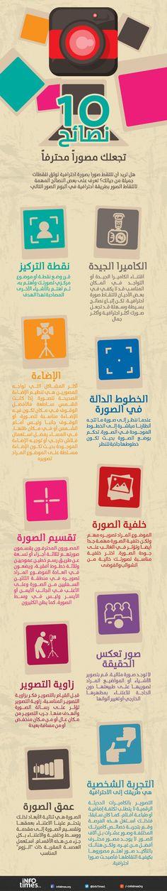 إنفوجرافيك عربي - 10 نصائح تجعلك مصوراً محترفاً