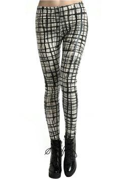 Inkjet Graffiti Check Leggings. Description Leggings, featuring an elasticated, high-rise waist, inkjet graffiti check print throughout, a regular length. Fabric Polyester. Washing Cool hand wash. #Romwe