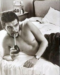 Che Guevara - sipping Mate on an unmade bed. The hottest Guerrilla Warfare fighter ever!