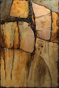 Wood Rock  14024 by Carol Nelson mixed media ~ 36 x 24