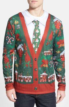 """Ugly Christmas Cardigan"" Long Sleeve Tee"