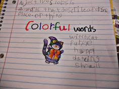 """Halloween adjectives: students receive a Halloween sticker and come up with as many """"colorful words/adjectives"""" to describe their sticker"""