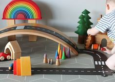 Tiny Rainbow Town 🏘🌁🌈 I love setting up these little invitations to play for the kiddos, they don't usually stay like this for long before… Small World Play, My Love, Toys, Instagram, Rainbow, Invitations, Games, Videos, Collection