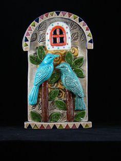 Ceramic Art Tile, Two Birds