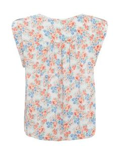 White Pattern (White) White and Pink Floral Bubblehem Top | 274287419 | New Look