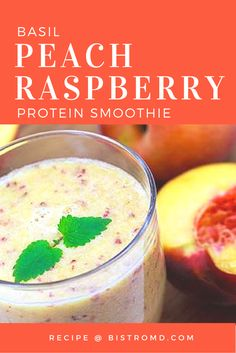 Satisfy any sweet-tooth with this refreshing and healthy smoothie made with peaches and raspberries. Sit back and enjoy this recipe for breakfast or after the gym; it's packed with of protein so it's great for recovery after a tough workout! High Protein Smoothies, Protein Smoothie Recipes, Green Smoothies, Juice Smoothie, Eat Healthy, Easy Healthy Recipes, Healthy Meals, Low Carb Recipes, Cooking Recipes