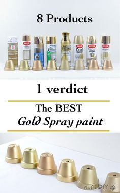 Looking for the best gold spray paint? Frustrated with trying to find a gold spray paint by looking at the cap? Now you don't have to waste time and money trying out every brand! I tested 8 products and give you all the details! Best Gold Spray Paint, Spray Paint Metal, Metallic Spray Paint Colors, Rustoleum Spray Paint Colors, Gold Glitter Spray Paint, Spray Painted Bottles, Green Spray Paint, Wine Bottle Crafts, Mason Jar Crafts