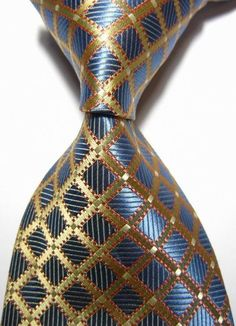 New Classic Checks Blue Gold Jacquard Woven Silk Men's Handmade Tie Necktie Great Mens Fashion, Big Men Fashion, Suit Fashion, Male Fashion, High Fashion, Fashion Ideas, Sharp Dressed Man, Well Dressed Men, Tie Accessories