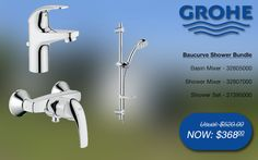 Grohe baucurve shower bundle basin & shower mixer, shower rail set @ SGD$368 (32805000, 32807000, 27395000) #grohe #bathroom #shower #taps #promotions #singapore Shower Mixer Taps, Bath Mixer, Shower Rail, Shower Set, Bathroom Gallery, Bath Taps, Bathroom Bath, Basin, Wind Turbine