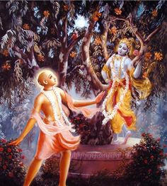 On a full moon night Lord Caitany sees Krishna in the forest.