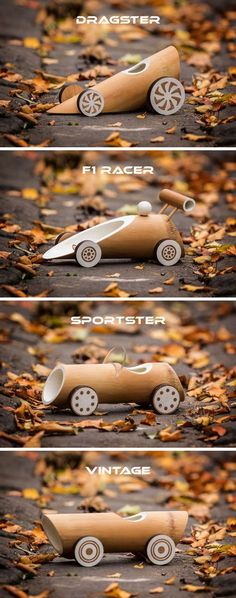 These New Eco-Friendly Bamboo Toy Cars Are Fully Biodegradable Australian based designers Made of Bamboo, have designed a collection of eco-friendly bamboo toy cars that come in four designs. Bamboo Art, Bamboo Crafts, Wood Crafts, Bamboo Ideas, Diy Crafts, Diy Wood Projects, Woodworking Projects, Teds Woodworking, Design Projects
