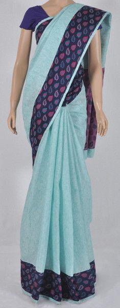 Designer light green linen sari with deep purple jacquard blouse piece