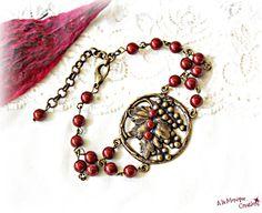 Bratara cu frunza si perle Swarovski bordo Swarovski, Personalized Items, Bead