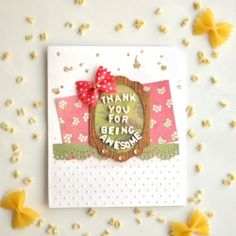 Have you ever though of using pasta as an embellishment for your card? (in Spanish and English)