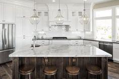 Incredible white granite uk just on popi home design White Kitchen Counters, Cost Of Granite Countertops, Granite Kitchen, Kitchen Cabinetry, Kitchen Countertops, Luxury Kitchens, Cool Kitchens, Dream Kitchens, Kitchen Pendants