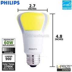 This Philips EnduraLED bulb is 10 watts and 120 volt. The Endura LED 10w bulb has an A19 shape and an overall length of 4.807. It gives off a luminous flux of 900LM and has a 2700K color temperature. This LED lamp gives off a warm white color. It is a dimmable bulb and has a rated life of 30,000 hours. The Philips LED 10 watt bulb has an E26 medium screw base.
