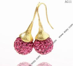 14x35mm Rose Shiny Crystal Polymer Clay Disco Ball Alloy Earrings #eozy