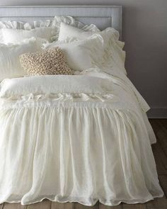 Shop luxury bedding sets and bedding collections at Horchow. Browse our incredible selection of full, queen, and king size luxury bedding sets. Shabby Chic Bedrooms, Shabby Chic Homes, Shabby Chic Decor, Home Bedroom, Bedroom Decor, Bedroom Ideas, Bedroom Rustic, Master Bedroom, Linen Bedding