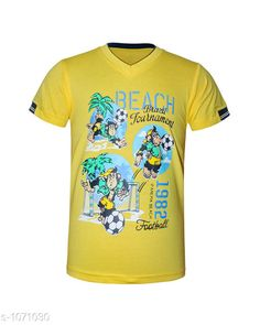 Tshirts & Polos Trendy Cotton Knitted Boy's T-shirt  *Fabric* Cotton Knitted  *Sleeves* Half Sleeves Are Included  *Size* Age Group (2 - 3 Years) - 20 in Age Group (3 - 4 Years) - 22 in Age Group (5 - 6 Years) - 24 in Age Group (7 - 8 Years) - 26 in Age Group (9 - 10 Years) - 28 in Age Group (10 - 11 Years) - 30 in Age Group (11 - 12 Years) - 32 in Age Group (12 - 13 Years) - 34 in  *Type* Stitched  *Description* It Has 1 Piece Of  Boys T-Shirt.  *Work* Printed  *Sizes Available* 2-3 Years, 3-4 Years, 5-6 Years, 7-8 Years, 8-9 Years, 9-10 Years, 10-11 Years, 11-12 Years, 12-13 Years *    Catalog Name: Doodle Trendy Cotton Knitted Boy's T-shirts Vol 2 CatalogID_131036 C59-SC1173 Code: 091-1071030-