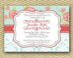 Wedding/Bridal or Baby Shower Invitation - Vintage Rose Tea Party - Birthday Invitation. $15.00, via Etsy.