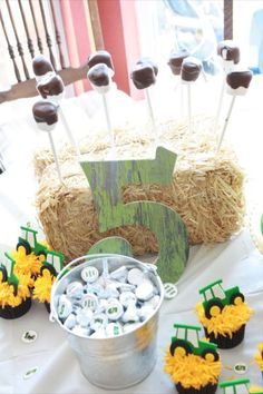 Personalized Hershey Kisses, cupcakes, and chocolate dipped marshmallows popped into a hay bale make a sweet John Deere birthday presentation.  See more John Deere birthday party ideas at www.one-stop-party-ideas.com
