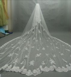Luxury Free Comb Velo De Novia 3M Long Cathedral Wedding Veil Two Tiers Appliques Beads Crystal Blings Lace Edge Bridal Purfle
