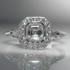 Asscher Cut Diamond Solitaire Ring in Platinum Asscher Cut Diamond, Diamond Solitaire Rings, Diamond Engagement Rings, Art Deco Jewelry, Vintage Jewelry, Platinum Jewelry, Vintage Diamond, Unique Vintage, Heart Ring