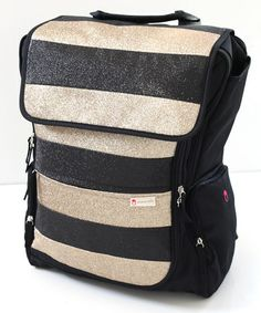 designer backpack diaper bag q5o0  Take a look at this Warm Milk Black & Gold Stripe Diaper Backpack & Pillow  by