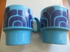 Retro 70s Blue and Navy Stacking Mugs Royal Alma Staffordshire Ironstone