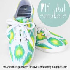 "If you ask me, chevron is kind of on its way out and ikat is ready to take its place as the ""in"" pattern. Ikat is popping up in fabric, h. Tissu Ikat, Diy Chemise, Motif Ikat, Sharpie Shoes, Chevron, Meme Design, Armband Diy, Shoe Crafts, Vbs Crafts"