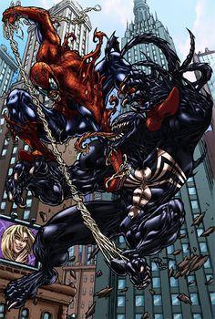 (Spidey Vs Venom color) By: Logicfun. Venom Spiderman, Spiderman Art, Batman Vs Superman, Amazing Spiderman, Marvel Vs, Marvel Dc Comics, Marvel Heroes, Venom Comics, Symbiotes Marvel