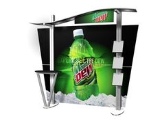 Wave Canopy Tradeshow Display with One Table - ExhibitDEAL Displays