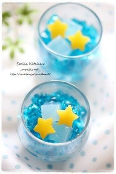 Star festival jelly - Tanabata - idea only, links to a Japanese website Japanese Food Art, Japanese Cake, Japanese Sweets, Cute Desserts, Dessert Recipes, Bento, Cute Food, Yummy Food, Japanese Wagashi