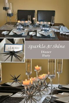 Tablescape idea for New Years! They sell those tealight candle holders at the dollar store! I bought 12 of them in 3 different heights and it looks gorgeous running the length of the table.