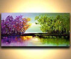 Pintura a medida. Pintura similar se creará. Marco de tiempo para crearla es de 5 días.    Nombre de la pintura: El río de bendiciones  Tamaño total: 48 x 24 x1.5 Colores: Azul claro, lavanda, púrpura, rosado, anaranjado, amarillo, verde, verde limón, marrón oscuro, azul Medio: Acrílico sobre lienzo envuelto, espátula  La pintura estará lista para colgar (hardware y colgante instrucción serán suministrados). Se pintó sobre un lienzo envuelto con una espátula. El lienzo será libre de grapas…