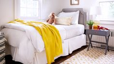 Home Tour: Traditional With a Fresh Modern Twist //  traditional, bedroom, children's room, boy's room, twin bed, Ikea geometric rug, yellow blanket, Target x-base side table