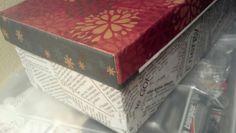 keepsake box: shoebox + scrapbook and newspaper + modge podge