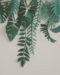 Paper ferns and leaves along top of wall Diy Flowers, Paper Flowers, Vitrine Design, Paper Plants, Paper Leaves, Diy Paper, Paper Cutting, Diy And Crafts, Backdrops