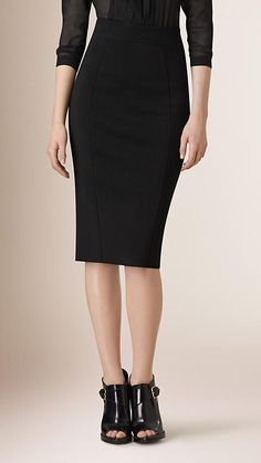 Black Panelled Pencil Skirt - Image 1