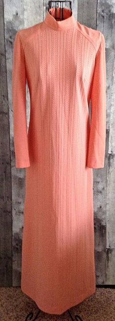 Vintage 1960s Gay Gibson Maxi Dress Gown Textured Peach Mock Neck Size Small #GayGibson #GownMaxiDress