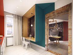 apartment brick wall design idea