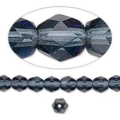 Bead, Preciosa Czech fire-polished glass, Montana blue, 6mm faceted round. Sold per 16-inch strand.