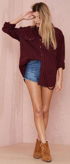 Distressed Flannel Shirt + Jean Shorts