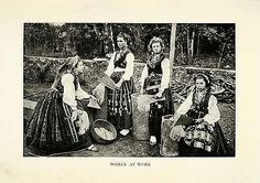 1915 Print Portugal Portuguese Women at Work