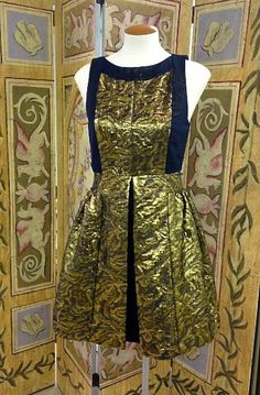 What a great gold and blue dress from Private Label! What to Wear to Events This Spring. Featuring Affordable Items! www.styleblueprint.com