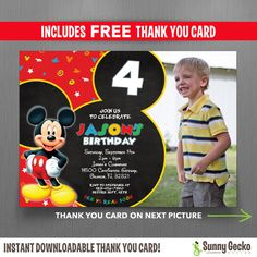 Disney Mickey Mouse Clubhouse 7x5 in. Birthday Invitation with FREE Thank you Card by SunnyGeckoDesign
