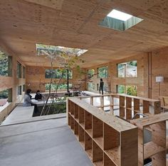 Splitting Space: Dynamic Dual-Material Japanese Residence.  ~ This would make such a great office space. The environment plays a role in keeping employees intrigue.